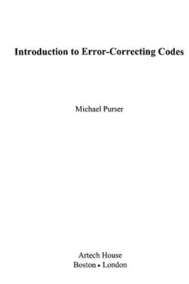 Purser M. Introduction to Error Correcting Codes