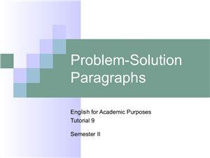 Problem-Solution Paragraphs