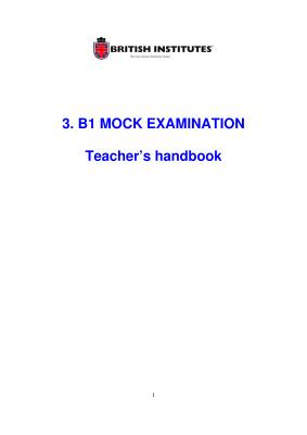 British Institutes. B1 Mock Examination. Teacher's handbook