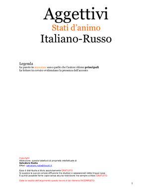 Aggettivi. Stati d'animo. Italiano-Russo (tabella). Прилагательные. Настроение (таблица)