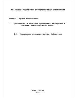 Звягин С.А. Организация и методика проведения экспертизы в системе бухгалтерского учета