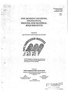 PFI ES-24 Pipe Bending Methods, Tolerances, Process and Material Requirements