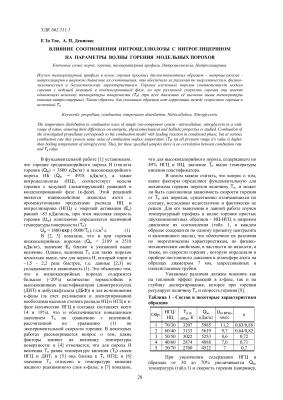 Тве Е Зо, Денисюк А.П. Влияние соотношения нитроцеллюлозы с нитроглицерином на параметры волны горения модельных порохов