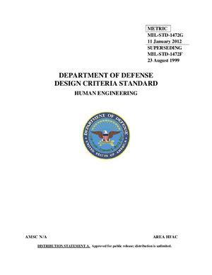 MIL-STD-1472G (11 January 2012) Department of defense. Design criteria standard. Human engineering