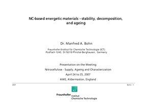 Bohn Manfred A. NC-based energetic materials - stability, decomposition, and ageing