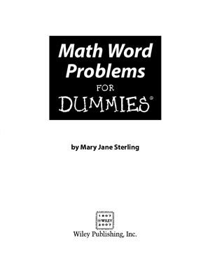 Sterling M.J. Math Word Problems For Dummies