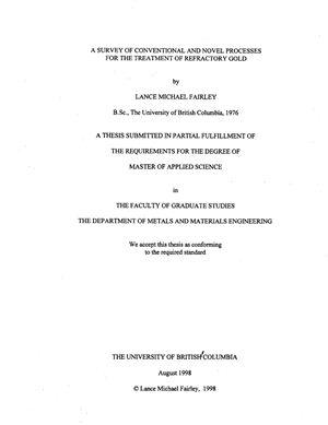 Фэрли Л.М. Обзор традиционных и инновационных приёмов обогащения упорных золотосодержащих руд