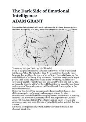 Grant Adam. The Dark Side of Emotional Intelligence