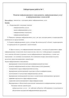 Лабораторная работа по информационному менеджменту №1