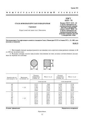 ГОСТ 1133-71 Сталь кованая круглая и квадратная. Сортамент