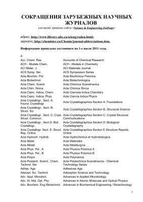 Список сокращений научных журналов