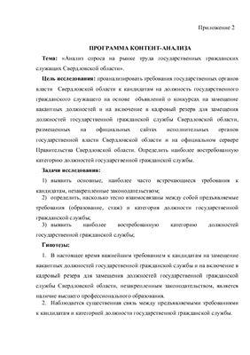 Программа контент-анализа на тему: Анализ спроса на рынке труда государственных гражданских служащих Свердловской области