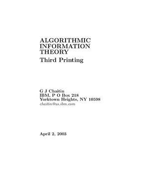 Chaitin G.J. Algorithmic information theory