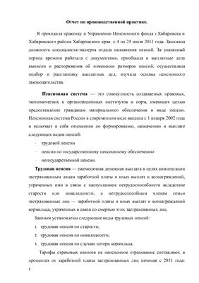 Отчет по производственной практике в пенсионном фонде