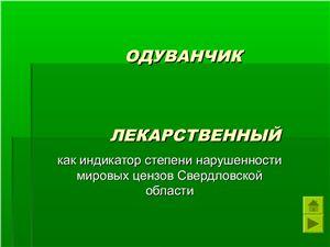 Одуванчик лекарственный как индикатор степени нарушенности луговых ценозов Свердловской области