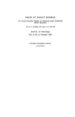 Йодер Г.С., Тилли К.Э. Происхождение базальтовых магм