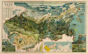 Зоогеографическая наглядная учебная карта С.С.С.Р