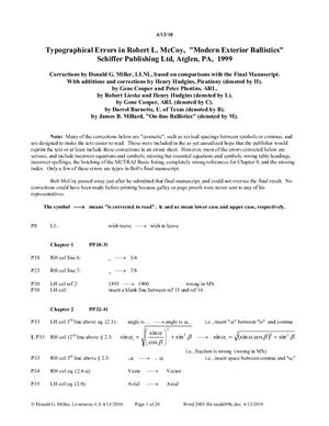 McCoy R.L. Modern Exterior Ballistics: Typographical Errors (список опечаток в книге)