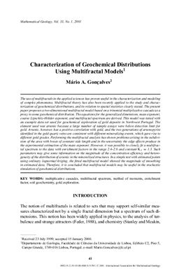 Goncalves Mario A. Characterization of Geochemical Distributions Using Multifractal Models