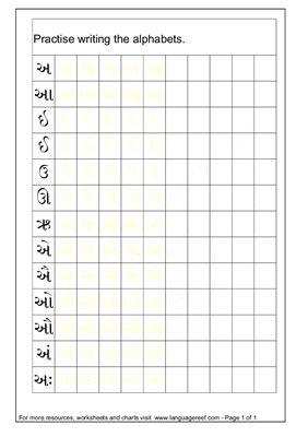 Прописи гласных букв языка гуджарати