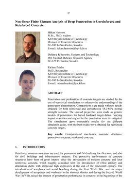 Нелинейный анализ пробития армированного и неармированного бетона методом конечных элементов. Hansson H., Malm R. Non-linear finite element analysis of deep penetration in unreinforced and reinforced concrete