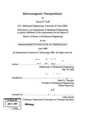 Cuff, David P. Electromagnetic Nanopositioner