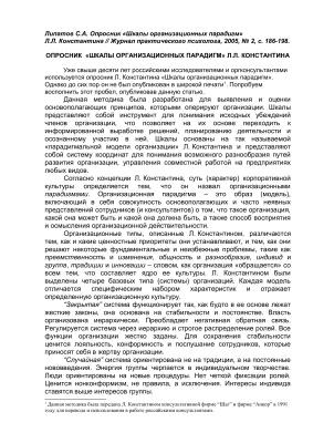 Липатов С.А. Опросник Шкалы организационных парадигм Л.Л. Константина