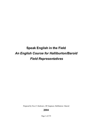 Rodionov Nico F. Speak English in the Field. An English Course for Halliburton. Baroid Field Representatives