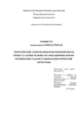 Погодина Т.Г. Теоретические аспекты проблемы невменяемости. Процессуальные основы, организационные формы и конкретные задачи судебно-психиатрической экспертизы