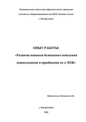 Бачевская А.В. Опыт работы: Развитие навыков безопасного поведения дошкольников и приобщение их к ЗОЖ