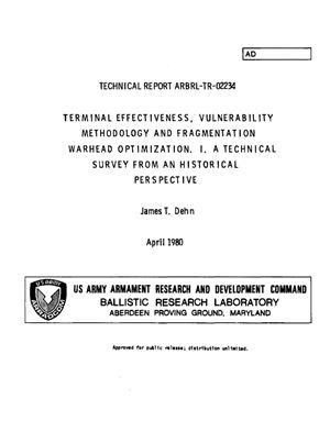 Dehn James T. Terminal effectiveness, vulnerability methodology and fragmentation warhead optimization