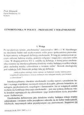 Klepacki P. Etnobotanika v Polsce - przesłość i teraźniejszość