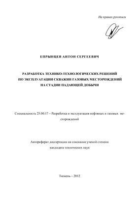 Епрынцев А.С. Разработка технико-технологических решений по эксплуатации скважин газовых месторождений на стадии падающей добычи