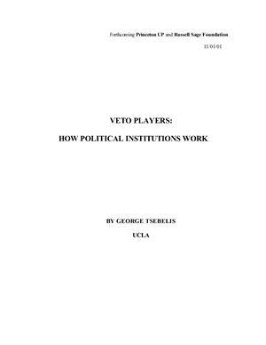 Tsebelis G. Veto Players: How Political Institutions Work