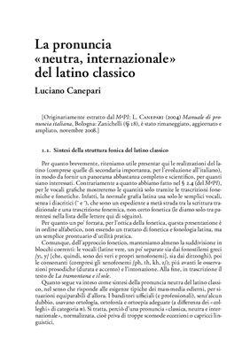 Canepari L. La pronuncia del latino classico