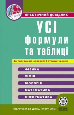 Дудінова О.В., Шабанова Г.В. та ін. Усі формули та таблиці. Практичний довідник