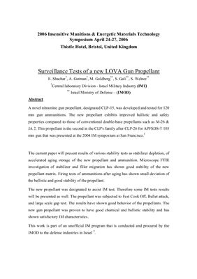 Shachar E., Gutman A., Goldberg M., Gali S., Welner S. Surveillance Tests of a new LOVA Gun Propellant