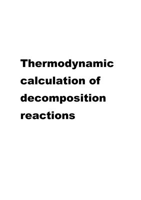 Thermodynamic calculation of decomposition reactions