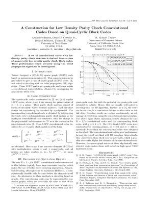 Tanner R. Michael. LDPC-коды основанные на квази-циклических блочных кодах