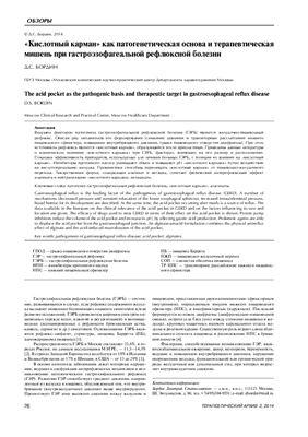 Бордин Д.С. Кислотный карман как патогенетическая основа и терапевтическая мишень при гастроэзофагеальной рефлюксной болезни