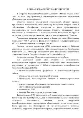 Отчет по преддипломной практике ОАО Амкодор