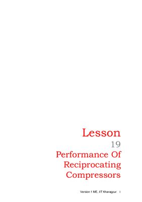 Lesson 19. Performance Of Reciprocating Compressors