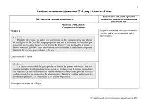 Відповіді ЗНО-2014 з іспанської мови