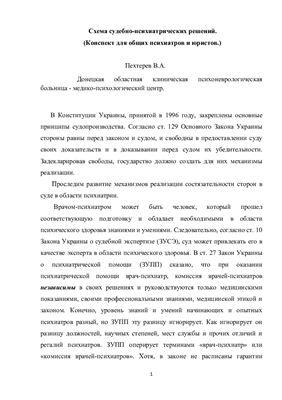 Пехтерев В.А. Схема судебно-психиатрических решений (Конспект для общих психиатров и юристов)