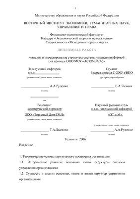 Диплом - Анализ и проектирование структуры системы управления фирмой на примере ООО МСК АСКО ВАЗ