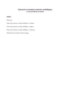 Frustaci Maria. Glossario economico-statistico multilingua (italiano, inglese, francese)