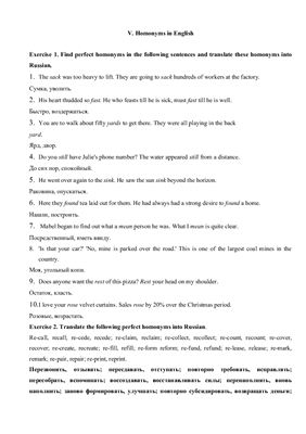 Homonyms in English