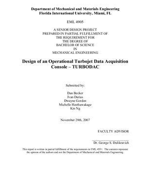 Dan Becker, Ivan Darias, Dwayne Gordon, Michelle Heethawakage, Kin Ng. Design of an Operational Turbojet Data Acquisition Console - TURBODAC