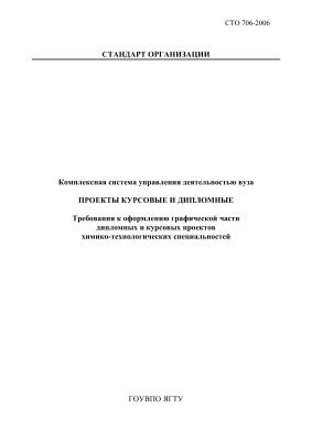 СТО 706-2006 Комплексная система управления деятельностью вуза. Проекты курсовые и дипломные. Требования к оформлению графической части дипломных и курсовых проектов химико-технологических специальностей