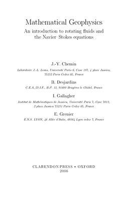 Chemin J.-Y., Desjardins B., Gallagher I., Grenier E. Mathematical geophysics